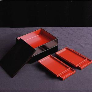 長角取皿付 二段重(皿4枚組) 二段重/重箱/漆塗り|heiando