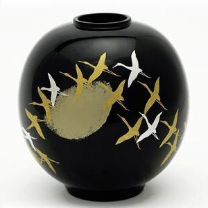 丸花生 千羽鶴(木箱入り) 花瓶/漆器/インテリア|heiando