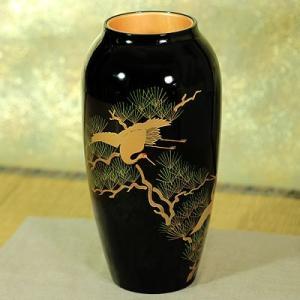 ≪花瓶≫花生 松に鶴蒔絵