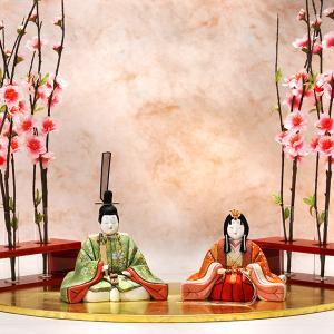 【ひな祭り限定「吉徳大光」江戸木目込み雛人形と扇面雛舞台|heiando