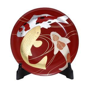 飾皿 鯉蒔絵(皿立て付/木箱入)|heiando