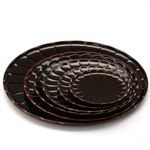 菊皿 溜(6枚揃い) 香典返し/引き出物/ギフト/漆器/漆塗り/皿 heiando