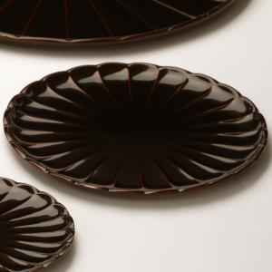 菊皿 溜(6寸) 香典返し/引き出物/ギフト/漆器/漆塗り/皿 heiando