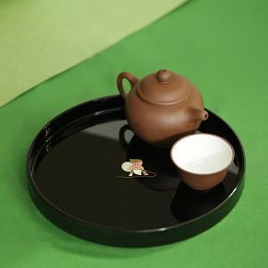 丸盆 風神(黒)お盆 漆器 螺鈿|heiando