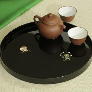 丸盆 風神雷神(黒)