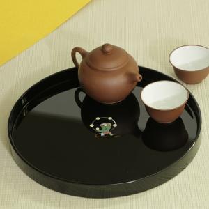 丸盆 雷神(黒)お盆 漆器 螺鈿|heiando