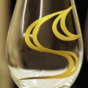 【スウェーデン王室御用達クリスタルブランド Orrefors × 宮内庁御用達 漆器山田平安堂】蒔絵シャンパングラス/ワイングラス 流水|heiando