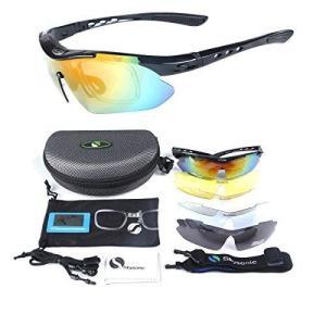 Skysonic スポーツサングラス 偏光レンズ 自転車メガネ uv400紫外線カット 専用交換レンズ5枚 ユニセックス 4カラー (ブラック)|heiman