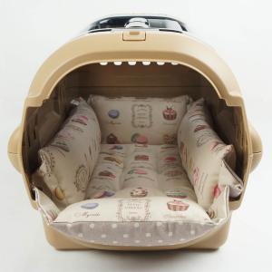 ペットが喜ぶ キャリークッションベッド マカロンベージュドット Sサイズ|helens-petbed