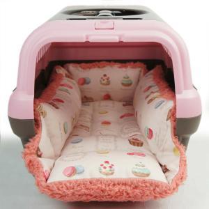 ペットが喜ぶ キャリークッションベッド マカロンローズピンクファー Sサイズ|helens-petbed