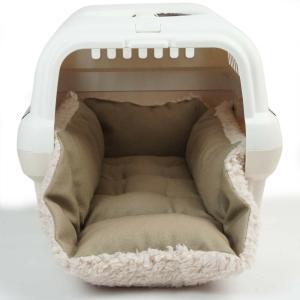 ホリホリ・カミカミ大好きちゃん用 8号帆布生地 キャリークッションベッド モカファー Sサイズ|helens-petbed