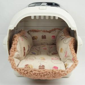 ペットが喜ぶ キャリークッションベッド マカロンベージュファーキャメル Sサイズ|helens-petbed