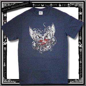訳あり メンズ 半袖 Tシャツ アメカジ freedom柄 まとめ割対象商品 /rfa085-s3|hello-import
