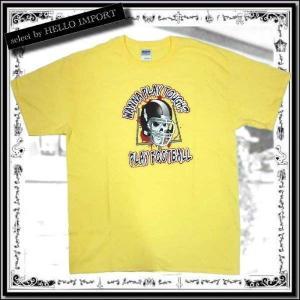 訳あり メンズ 半袖 Tシャツ 大きいサイズ 流血 スカル フットボール柄 まとめ割対象商品 /rfa086-L17|hello-import