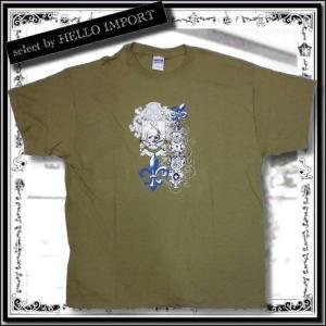 訳あり メンズ 半袖 Tシャツ アメカジ  大きいサイズ スカル 盾 ゆり 柄 まとめ割対象商品 / rfa087-xl-15|hello-import