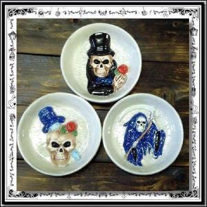 スカル 灰皿 おしゃれ 卓上 置物 浮き彫り風 ナイフ 薔薇 スカル / rfh070|hello-import