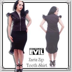 フリルスリーブ ジップ飾りのブラウス シャツ ゴシック ファッション 服 レディース 黒 / wot204|hello-import