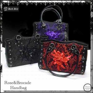 ゴシック 鞄  レディース 薔薇コサージュ&蔦柄 ハンドバッグ 再入荷 /wox157|hello-import