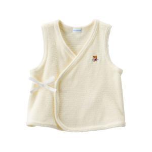新生児ウェア ミキハウス やわらか無撚糸パイルの短胴着 白