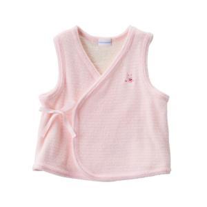 新生児ウェア ミキハウス やわらか無撚糸パイルの短胴着 ピンク