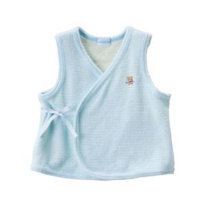 新生児ウェア ミキハウス やわらか無撚糸パイルの短胴着 ブルー