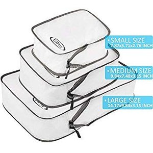 超便利旅行圧縮バッグ ファスナー圧縮 トラベルバッグ 軽量 出張 旅行 防水 衣類収納 小物入れ 可変スペース 3点セット (ホワイト)|hellodolly