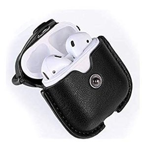 Apple AirPods 専用 レザー ケース カバー キーホルダー付き 落下防止 耐衝撃 防塵 擦り傷 汚れ 保護 (ブラック)|hellodolly