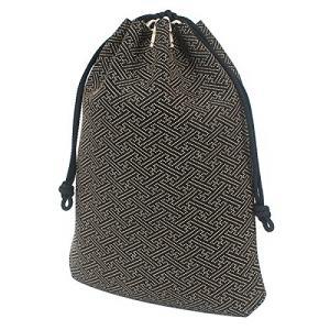 INDEN-YA 印傳屋 印伝 合切袋 巾着 メンズ 男性用 黒×白 紗綾形 3007-11-006