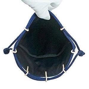 INDEN-YA 印傳屋 印伝 合切袋 巾着 メンズ 男性用 紺×白 青海波 3007-14-004