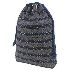 INDEN-YA 印傳屋 印伝 合切袋 巾着 メンズ 男性用 紺×白 爪唐草 3007-14-009