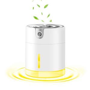 加湿器 卓上 300ML 静音ミニ小型 2000mAhバッテリー USB充電 超音波 車載家庭寝室 7色LED 花粉乾燥対策|hellodolly