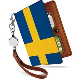 パスケース リール付き 国旗 スウェーデン かっこいい 世界の国旗 二つ折り 定期入れ 2枚 3枚 4枚 カードケース カード入れ スウェー hellodolly