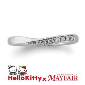 ハローキティの結婚指輪 マリッジリング レディース バッキンガム宮殿 K18 ホワイト・ピンク・イエロー|hellokitty-mayfair-j