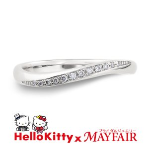 ハローキティの結婚指輪 マリッジリング レディース テムズリバー K18 ホワイト・ピンク・イエロー|hellokitty-mayfair-j