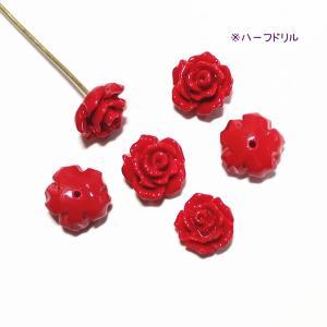 10071-【人造コーラル】 薔薇 レッド ハーフドリル 8mm 6個/1パック|hellospace