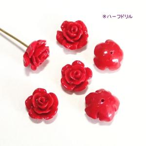10074-【人造コーラル】 薔薇 レッド ハーフドリル 10mm 6個/1パック|hellospace