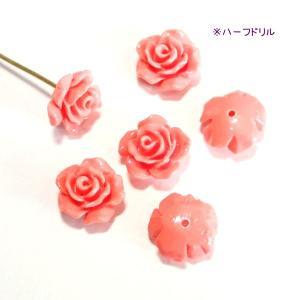 10075-【人造コーラル】 薔薇 ピンク ハーフドリル 10mm 6個/1パック|hellospace
