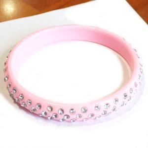 10537-『ブレスレット』 ラインストーン バングル ピンク 11mm巾 1個|hellospace