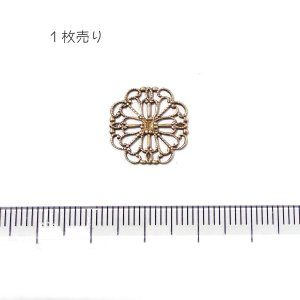 10841-〈Filigree〉 Brass Filigree 型抜きパーツ 15mm 1個|hellospace