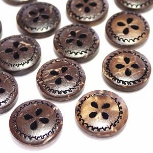 12208-【ウッドビーズ】 ボタン 13mm 4ホール 20個/1パック|hellospace