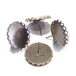 1328-[セッティング] ピン付き ラウンド 真鍮古美 20mm(内径) 4個/1パック|hellospace