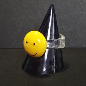 14709-『指輪パーツ』 ニコちゃんガラスリング 内径16mm 1個|hellospace