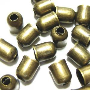 14810-【基本パーツ】 コードエンド 真鍮古美色 5x4mm 100個/1セット|hellospace