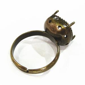 1497-『指輪パーツ』 カボション用リング(ホールあり) 真鍮古美 10mm用 1個|hellospace