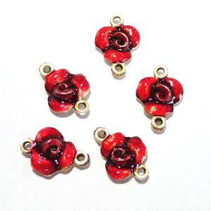 15594-【NYピューター】 薔薇 コネクター エナメル 赤 金古美 10mm 5個/1セット|hellospace