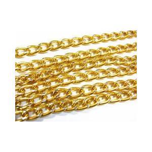 1786-【チェーン】アルミデザイン ゴールド 8x5mm 約1メートル 1本|hellospace