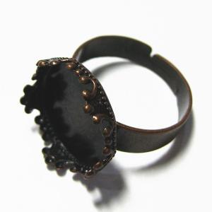 1956-『指輪パーツ』 セッティングリング 銅古美 15mm(トレイ部分) 3個/1セット|hellospace