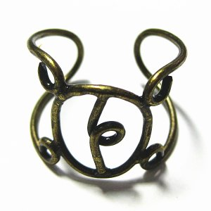 2372-『指輪パーツ』 リング 真鍮古美 15x12mm(トップの丸い部分) 1個|hellospace
