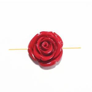 2391-【人造コーラル】 薔薇 レッド 横ホール 20mm 1個|hellospace