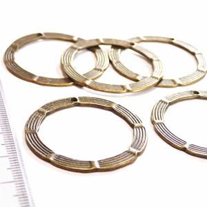 2888-《輪パーツ》 リングパーツ(トップホール) 真鍮古美 34mm 5個/1パック|hellospace